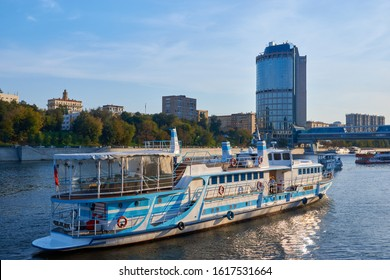 Moscow, Russia - September 12, 2019: Historic city center, embankment. Pleasure boat on the Moscow river