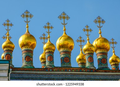 Moscow, Russia - September 13, 2018: Landscape with view on domes of the cathedrals of the Moscow Kremlin. Detail