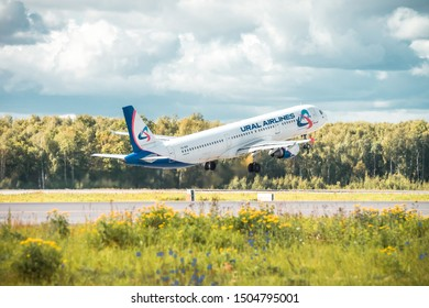 MOSCOW, RUSSIA, SEPTEMBER 14 2019: Ural Airlines Airbus A321 is taking-off at Domodedovo Airport (DME)