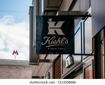 Moscow, Russia - September 14, 2019: Outdoor advertising sign with the Kiehls logo. Kiehl's LLC is an American cosmetics brand retailer that specializes in skin, hair, and body care products