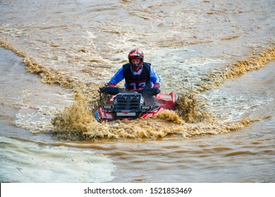 MOSCOW, RUSSIA - SEPTEMBER 14, 2019: Orlov  13, class ATV MUD Rasing, in the Stage 3 All-Russian amateur competitions for owners of all-terrain vehicles  and ATVs RZR CAMP 2019, MotoPark Velyaminovo