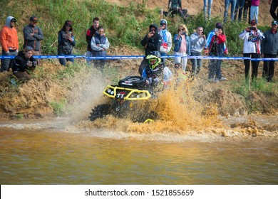 MOSCOW, RUSSIA - SEPTEMBER 14, 2019: Orlov  11, class ATV MUD Rasing, in the Stage 3 All-Russian amateur competitions for owners of all-terrain vehicles  and ATVs RZR CAMP 2019, MotoPark Velyaminovo