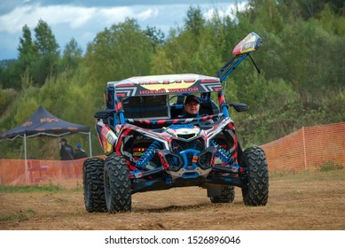 MOSCOW, RUSSIA -SEPTEMBER 14, 2019: Zakhozhy 187,class Side-by-Side TURBO, in the Stage 3 All-Russian amateur competitions for owners of all-terrain vehicles and ATVs RZR CAMP 2019, MotoPark Velyamino