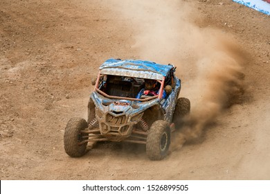 MOSCOW, RUSSIA - SEPTEMBER 14, 2019: Semenov,class Side-by-Side TURBO, in the Stage 3 All-Russian amateur competitions for owners of all-terrain vehicles and ATVs RZR CAMP 2019, MotoPark Velyaminovo