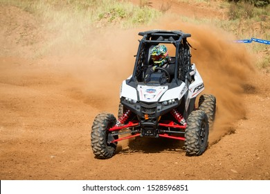 MOSCOW, RUSSIA - SEPTEMBER 14, 2019: Redkin 112,class Side-by-Side ATMO, in the Stage 3 All-Russian amateur competitions for owners of all-terrain vehicles and ATVs RZR CAMP 2019, MotoPark Velyaminovo