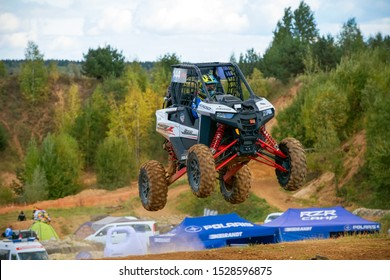 MOSCOW, RUSSIA- SEPTEMBER 14, 2019: Nefedov 144,class Side-by-Side ATMO, in the Stage 3 All-Russian amateur competitions for owners of all-terrain vehicles and ATVs RZR CAMP 2019, MotoPark Velyaminovo