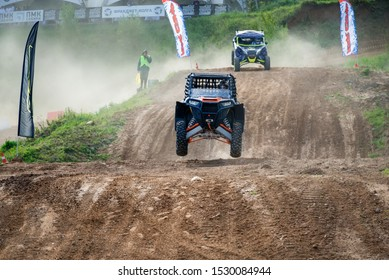 MOSCOW, RUSSIA - SEPTEMBER 14, 2019: Naishul 106,class Side-by-Side TURBO, the Stage 3 All-Russian amateur competitions for owners of all-terrain vehicles and ATVs RZR CAMP 2019, MotoPark Velyaminovo