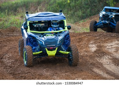 MOSCOW, RUSSIA - SEPTEMBER 14, 2019: Oreshkin 121class Side-by-Side TURBO, the Stage 3 All-Russian amateur competitions for owners of all-terrain vehicles and ATVs RZR CAMP 2019, MotoPark Velyaminovo