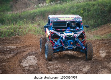 MOSCOW, RUSSIA - SEPTEMBER 14, 2019: Zakhozhy 187,class Side-by-Side TURBO, the Stage 3 All-Russian amateur competitions for owners of all-terrain vehicles and ATVs RZR CAMP 2019, MotoPark Velyaminovo