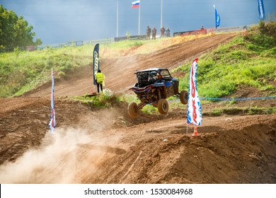 MOSCOW, RUSSIA - SEPTEMBER 14, 2019: Korolev 101,class Side-by-Side TURBO, the Stage 3 All-Russian amateur competitions for owners of all-terrain vehicles and ATVs RZR CAMP 2019, MotoPark Velyaminovo