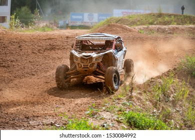 MOSCOW, RUSSIA - SEPTEMBER 14, 2019: Semenov ,class Side-by-Side TURBO, in the Stage 3 All-Russian amateur competitions for owners of all-terrain vehicles and ATVs RZR CAMP 2019, MotoPark Velyaminovo
