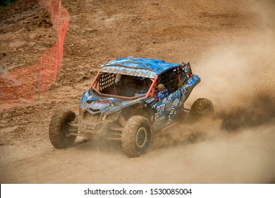 MOSCOW, RUSSIA - SEPTEMBER 14, 2019: Semenov ,class Side-by-Side TURBO, the Stage 3 All-Russian amateur competitions for owners of all-terrain vehicles and ATVs RZR CAMP 2019, MotoPark Velyaminovo