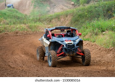 MOSCOW, RUSSIA -SEPTEMBER 14, 2019: Galeev 100,class Side-by-Side TURBO, in the Stage 3 All-Russian amateur competitions for owners of all-terrain vehicles and ATVs RZR CAMP 2019, MotoPark Velyaminovo
