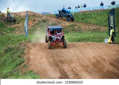 MOSCOW, RUSSIA - SEPTEMBER 14, 2019: Bagel 188,class Side-by-Side TURBO, in the Stage 3 All-Russian amateur competitions for owners of all-terrain vehicles and ATVs RZR CAMP 2019, MotoPark Velyaminovo