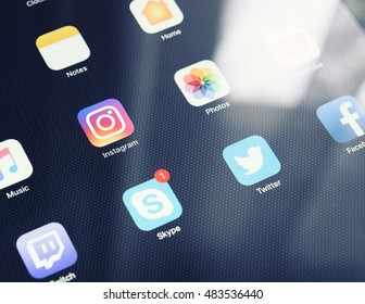Moscow, RUSSIA - SEPTEMBER 15, 2016: Social media icons on smartphone. Social media are trending and both business as consumer are using it for information sharing and networking.