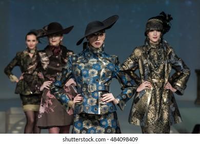 MOSCOW, RUSSIA - SEPTEMBER 15, 2016:  Model walk runway for Slava Zaitsev show for Fall Winter 2016. Fashion house Slava Zaitsev on Mira ave.