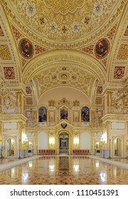 MOSCOW, RUSSIA - SEPTEMBER 15, 2017: The Hall of Order of St. Alexander Nevsky in Grand Kremlin Palace. The wall paintings depict the scenes from life of Alexander Nevsky.