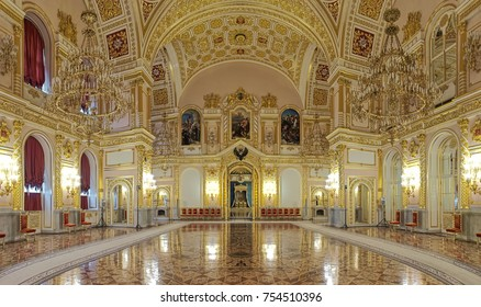 MOSCOW, RUSSIA - SEPTEMBER 15, 2017: The Hall of the Order of St. Alexander Nevsky in the Grand Kremlin Palace. Panoramic view of the interior.