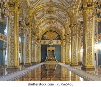 MOSCOW, RUSSIA - SEPTEMBER 15, 2017: The Hall of Order of St. Andrew in Grand Kremlin Palace. The hall was built in 1838-1849 jointly with the palace, destroyed in 1932-1934 and restored in 1994-1998.