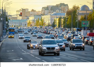 Moscow, Russia - September, 15, 2018: traffic on Moscow street