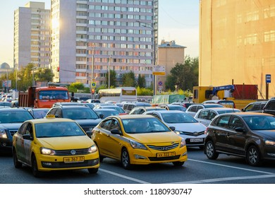 Moscow, Russia - September, 15, 2018: taxi on Moscow street