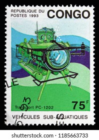 MOSCOW, RUSSIA - SEPTEMBER 15, 2018: A stamp printed in Congo shows Transport PC-1202, Deep Sea Submersibles serie, circa 1993