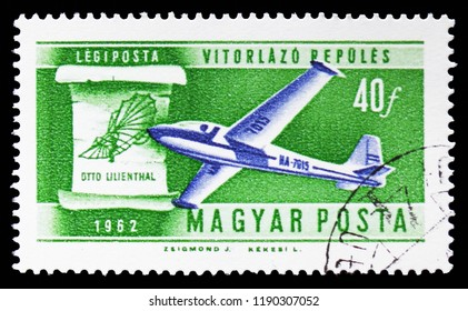 MOSCOW, RUSSIA - SEPTEMBER 15, 2018: A stamp printed in Hungary shows Sailplane and Lilienthal's 1898 design, History of Aviation serie, circa 1962