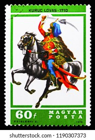 MOSCOW, RUSSIA - SEPTEMBER 15, 2018: A stamp printed in Hungary shows Kuruc hussar, 1710, Horsemen serie, circa 1978