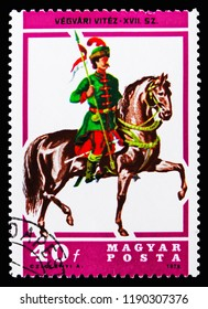 MOSCOW, RUSSIA - SEPTEMBER 15, 2018: A stamp printed in Hungary shows Lancer, 17th century, Horsemen serie, circa 1978