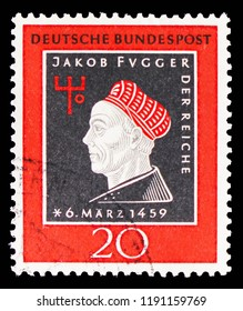 MOSCOW, RUSSIA - SEPTEMBER 15, 2018: A stamp printed in German Federal Republic (Germany) devoted to 500th Birthday of Jakob Fugger, serie, circa 1959