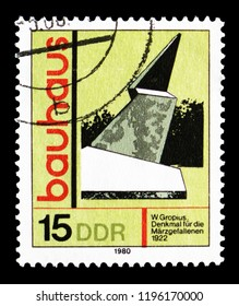 """MOSCOW, RUSSIA - SEPTEMBER 15, 2018: A stamp printed in DDR (Germany) shows Memorial to the Fallen in march, Weimar, Artistic Training """"Bauhaus"""" serie, circa 1980"""