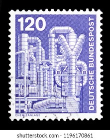 MOSCOW, RUSSIA - SEPTEMBER 15, 2018: A stamp printed in German Federal Republic (Germany) shows Chemical plant for the production of styrene, Industry and Technology Definitives serie, circa 1975