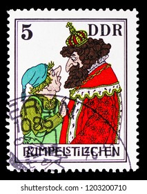 MOSCOW, RUSSIA - SEPTEMBER 15, 2018: A stamp printed in DDR (Germany) shows Fairy tales: Rumpelstiltskin, serie, circa 1976