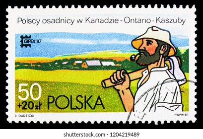 "MOSCOW, RUSSIA - SEPTEMBER 15, 2018: A stamp printed in Poland shows Polish Settler at Kasubia, Ontario, ""Capex '87"" International Stamp Exhibition, Toronto serie, circa 1987"
