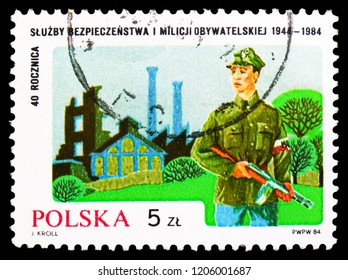 MOSCOW, RUSSIA - SEPTEMBER 15, 2018: A stamp printed in Poland shows Polish Militia, serie, circa 1984