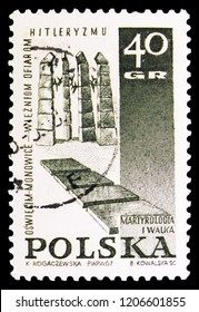 MOSCOW, RUSSIA - SEPTEMBER 15, 2018: A stamp printed in Poland shows Oswiecim Monowice, Struggle and Martyrdom of the Polish People, 1939-45 serie, circa 1967