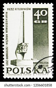 MOSCOW, RUSSIA - SEPTEMBER 15, 2018: A stamp printed in Poland shows Monument in Lodz, Struggle and Martyrdom of the Polish People, 1939-45 serie, circa 1967