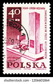 MOSCOW, RUSSIA - SEPTEMBER 15, 2018: A stamp printed in Poland shows Zagan, Struggle and Martyrdom of the Polish People, 1939-45 serie, circa 1967