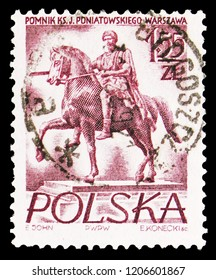 MOSCOW, RUSSIA - SEPTEMBER 15, 2018: A stamp printed in Poland shows Statue of Prince Jozef Poniatowski, Warsaw Monuments serie, circa 1956