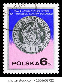 MOSCOW, RUSSIA - SEPTEMBER 15, 2018: A stamp printed in Poland shows 100 zlotych, Poland's millenium, 1966, Silver coins serie, circa 1977