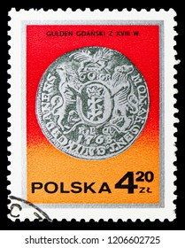 MOSCOW, RUSSIA - SEPTEMBER 15, 2018: A stamp printed in Poland shows King Augustus III guilder, Gdansk, 18th century, Silver coins serie, circa 1977