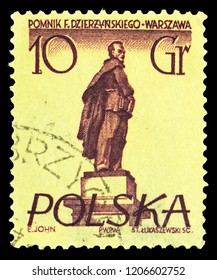 MOSCOW, RUSSIA - SEPTEMBER 15, 2018: A stamp printed in Poland shows F. Dzierzynski, Warsaw Monuments serie, circa 1955