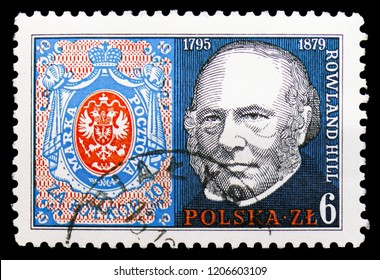 MOSCOW, RUSSIA - SEPTEMBER 15, 2018: A stamp printed in Poland shows Poland No. 1, Rowland Hill (1795-1879), Originator of Penny, 13th national Philatelic Exhibition serie, circa 1979