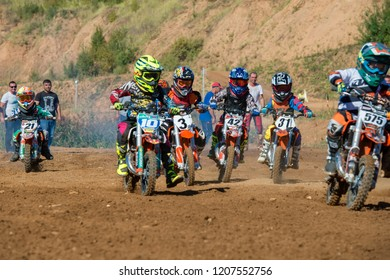 MOSCOW, RUSSIA - SEPTEMBER 15, 2018: Unrecognized young athletes,in the Velyaminovo Race Weekend 2018, Motopark Velyaminovo, Istrinsky district