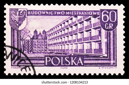 MOSCOW, RUSSIA - SEPTEMBER 15, 2018: A stamp printed in Poland shows Apartament houses, Wroclaw, Recovered territories serie, circa 1961
