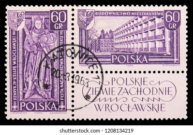 MOSCOW, RUSSIA - SEPTEMBER 15, 2018: A stamp printed in Poland shows Tombstone of Henry IV and seal, Apartament houses, Wroclaw, Recovered territories serie, circa 1961