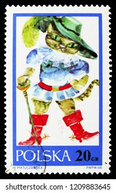 MOSCOW, RUSSIA - SEPTEMBER 15, 2018: A stamp printed in Poland shows Puss in boots, Fairy Tales serie, circa 1968