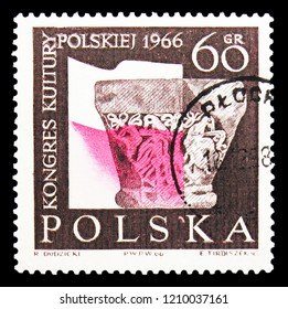 MOSCOW, RUSSIA - SEPTEMBER 15, 2018: A stamp printed in Poland shows Capital of Romanesque colun from Tyniec and Polish Flag, Polish Cultural Cingress serie, circa 1966