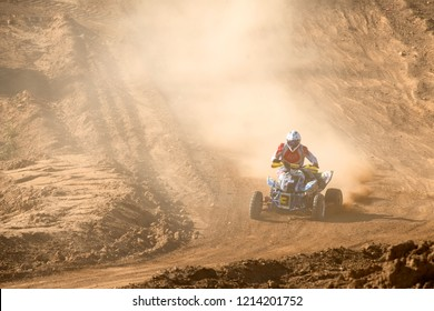 MOSCOW, RUSSIA - SEPTEMBER 15, 2018: Kolchin Dmitry 3,  ATV-Sport class, in the Vel'yaminovo Race Weekend 2018, Motopark Velyaminovo, Istrinsky district