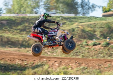 MOSCOW, RUSSIA - SEPTEMBER 15, 2018: Tryasov Ivan 15,  ATV-Sport class, in the Vel'yaminovo Race Weekend 2018, Motopark Velyaminovo, Istrinsky district